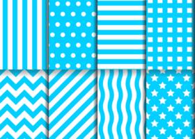 Blue geometric pattern set vector