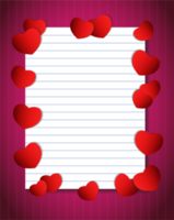 Notebook paper with hearts