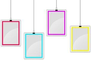 Hanging photo frames set vector