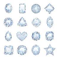 Realistic clear jewel gemstones set