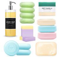 Realistic soap set vector