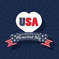 corazón de estados unidos y cinta del día conmemorativo