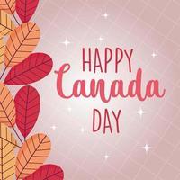 hojas canadienses de feliz día de canadá diseño vectorial