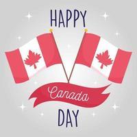 Banderas canadienses del feliz día de Canadá diseño vectorial