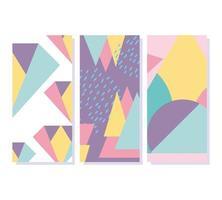 Memphis geometric elements retro style texture banners vector