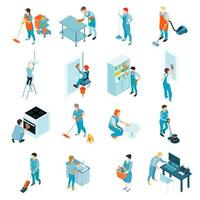 Isometric Cleaning Service Set vector