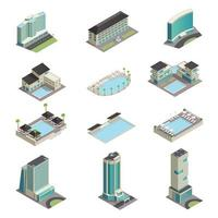 Luxury Hotel Buildings Isometric vector