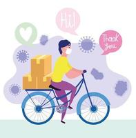 Courier man riding bike with mask and boxes vector