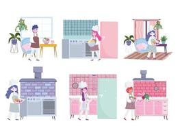 chef femenino y masculino preparando comida