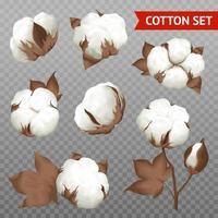Realistic Cotton Transparent Set vector