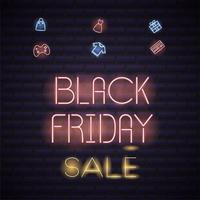 Black Friday Neon Poster vector
