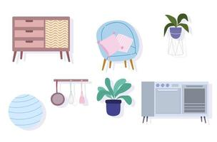 Stove, furniture, chair, ball, plant, and cutlery icons vector
