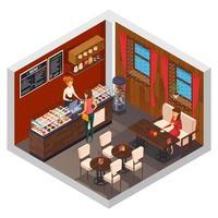 Interior isométrico de cafetería, bistró o restaurante.