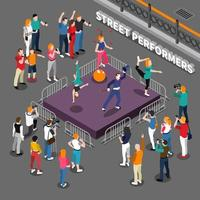 Street Artists Isometric People Composition vector