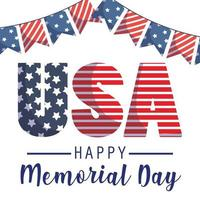USA and banner pennant of Memorial Day