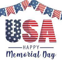 Estados Unidos y banderín del día conmemorativo.