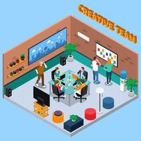 Coworking Center Isometric Interior