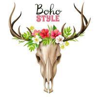 Deer Skull Boho Floral Elements