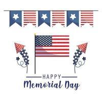 bandera, fuegos artificiales y banderín del día conmemorativo