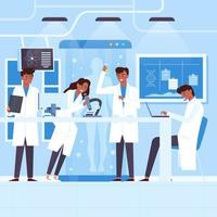 People working in a science lab vector