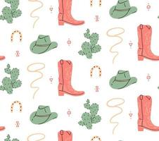 Wild west cowboy boot and hat seamless pattern vector