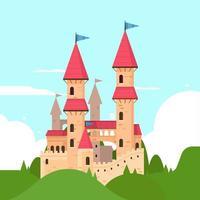 diseño de estilo plano de castillo de cuento de hadas
