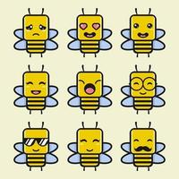 lindo conjunto de personajes de dibujos animados de abejas