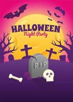 Halloween Poster with Gravestone and Skull at Night vector