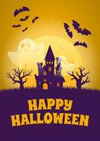 Halloween Poster with Haunted House and Ghosts vector
