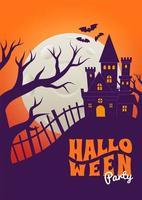cartel de halloween con escena de silueta de castillo espeluznante