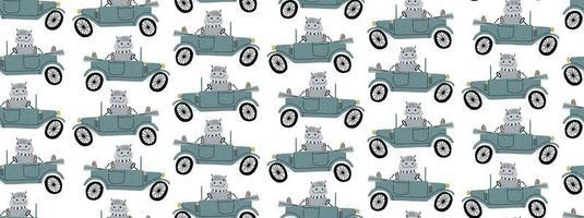 Cute hippo driving a retro car seamless pattern