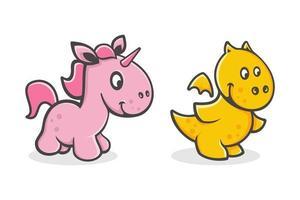 conjunto de dibujos animados lindo bebé unicornio y dragón