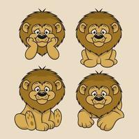 4 set diseño de personajes de dibujos animados de león