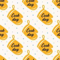 Cook day yellow oven glove seamless pattern