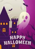 cartel de fiesta de noche de halloween con castillo y fantasma vector