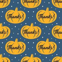 Happy Thanksgiving Day yellow pumpkin seamless pattern