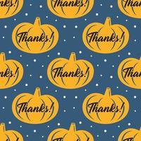Feliz día de acción de gracias calabaza amarilla de patrones sin fisuras