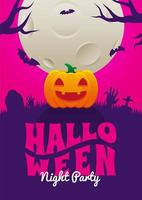Halloween Night Party Poster with Pumpkin in Cemetary vector