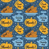 Thanksgiving pumpkin, oven glove, turkey, kettle pattern vector