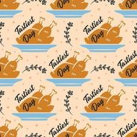Happy Thanksgiving turkey seamless pattern