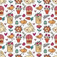 Cute funny Easter doodle pattern