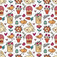 lindo y divertido patrón de doodle de pascua