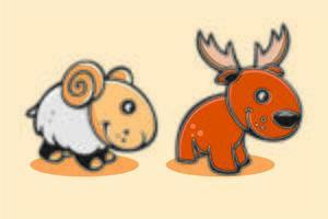 Set of cute cartoon baby goat and deer vector