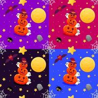 Halloween colorful seamless pattern with pumpkins and ghosts vector
