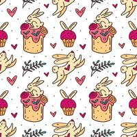 Cute Easter bunny and cakes hand drawn seamless pattern