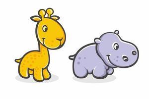 Set of cute cartoon baby giraffe and hippo