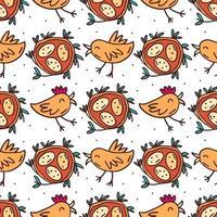pájaros con nido y huevos dibujados a mano de patrones sin fisuras