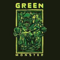 diseño de camiseta de monstruo verde