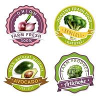 Set of labels with realistic vegetables  vector