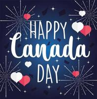 Happy Canada day text with fireworks and hearts